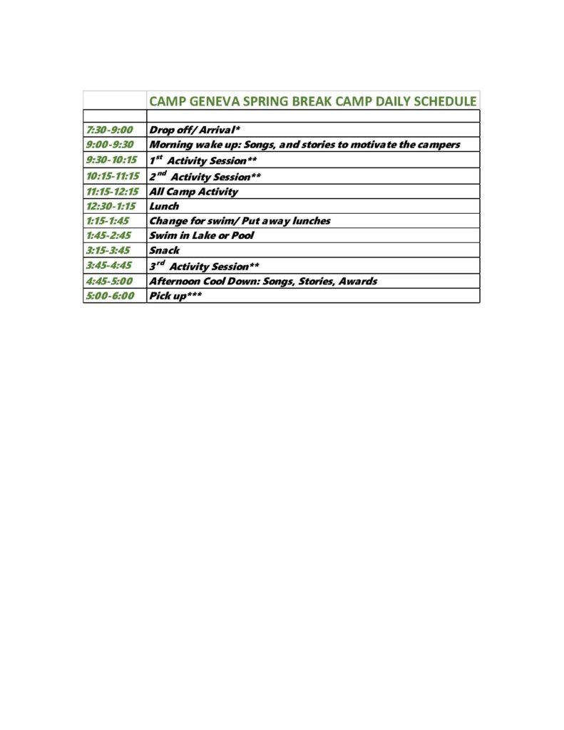 2017SpringBreakSchedule - Camp Geneva Day Camp